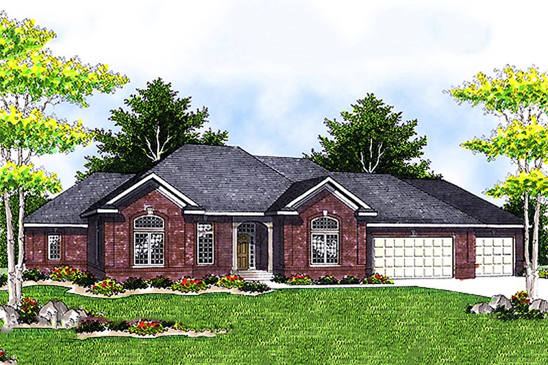 Traditional Style House Plan - 4 Beds 4.5 Baths 3892 Sq/Ft Plan #70-620 Exterior - Front Elevation