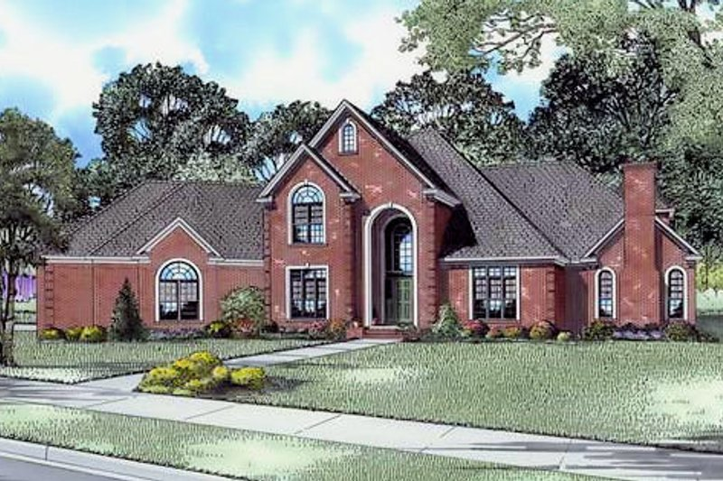European Style House Plan - 4 Beds 4 Baths 4721 Sq/Ft Plan #17-642 Exterior - Front Elevation