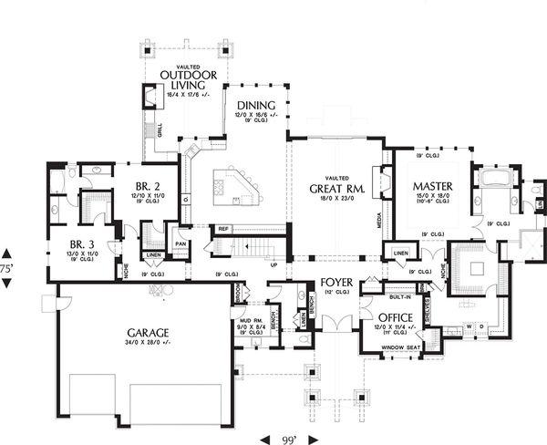 Craftsman Floor Plan - Main Floor Plan Plan #48-649