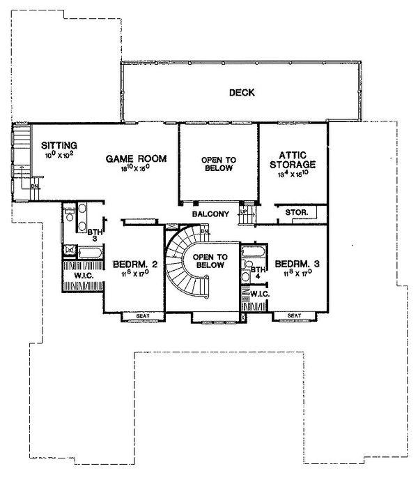 Mediterranean Floor Plan - Upper Floor Plan Plan #472-20