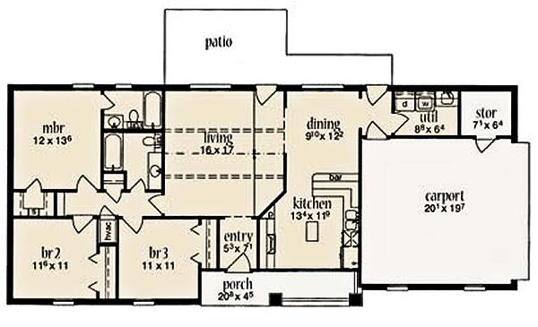 Ranch Floor Plan - Main Floor Plan Plan #36-455