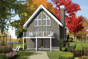 Cabin Exterior - Front Elevation Plan #25-4311