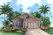 Mediterranean Style House Plan - 3 Beds 2 Baths 1992 Sq/Ft Plan #27-244 Exterior - Front Elevation