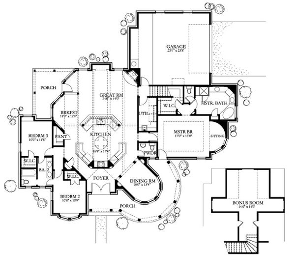 Traditional Floor Plan - Main Floor Plan Plan #80-150