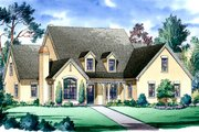 European Style House Plan - 5 Beds 4.5 Baths 4619 Sq/Ft Plan #490-5 Exterior - Front Elevation