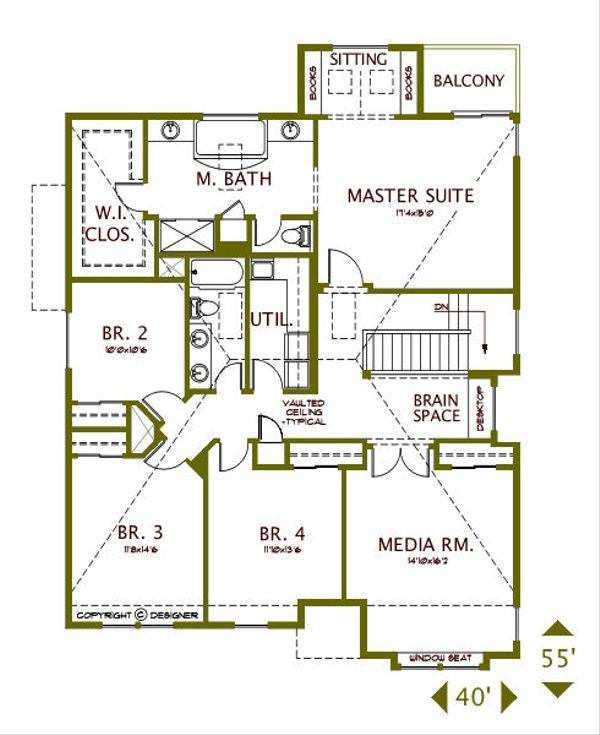 European Floor Plan - Upper Floor Plan Plan #487-5