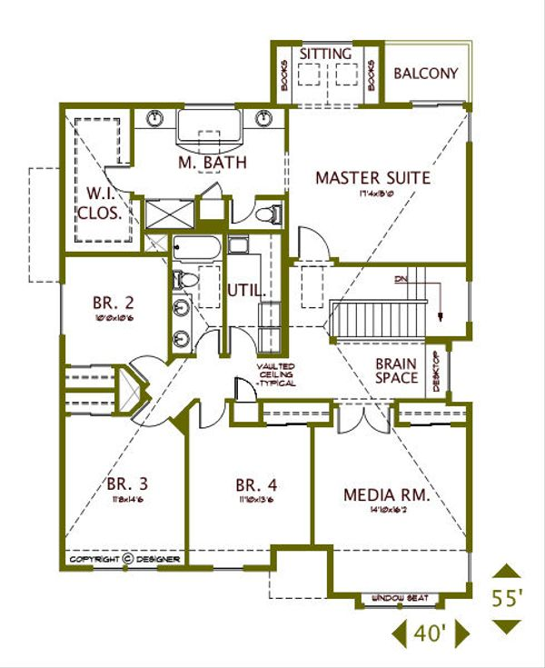 European Floor Plan - Upper Floor Plan Plan #487-5