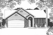 Traditional Style House Plan - 3 Beds 2 Baths 1159 Sq/Ft Plan #58-107 Exterior - Front Elevation
