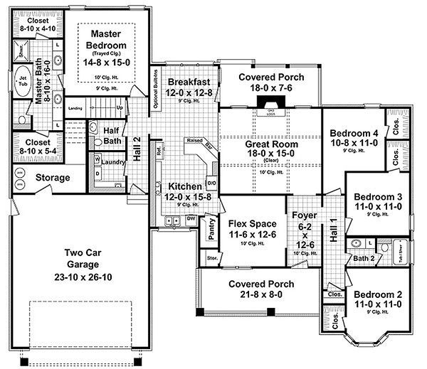 Craftsman Floor Plan - Main Floor Plan Plan #21-312