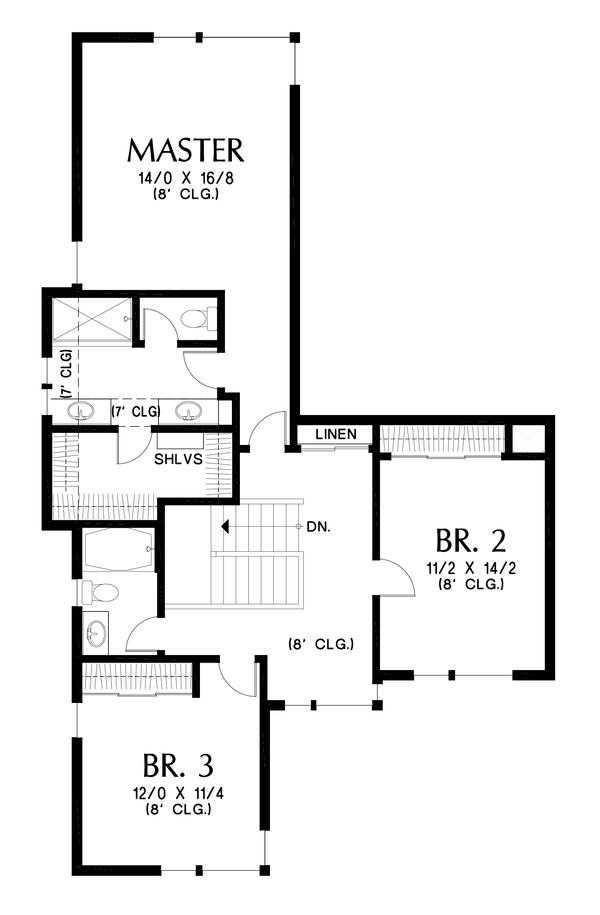 Contemporary Floor Plan - Upper Floor Plan Plan #48-1005