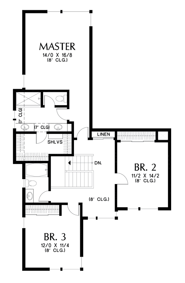 Architectural House Design - Contemporary Floor Plan - Upper Floor Plan #48-1005
