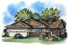 House Blueprint - Ranch Exterior - Front Elevation Plan #18-192