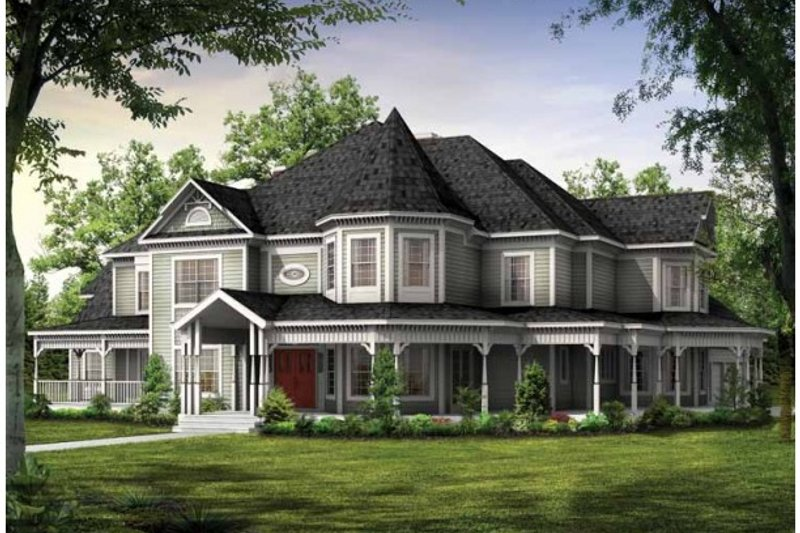 Victorian Style House Plan - 5 Beds 6 Baths 4826 Sq/Ft Plan #72-196 Exterior - Front Elevation