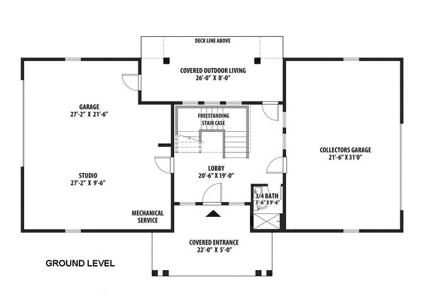 Architectural House Design - Contemporary Floor Plan - Lower Floor Plan #569-37