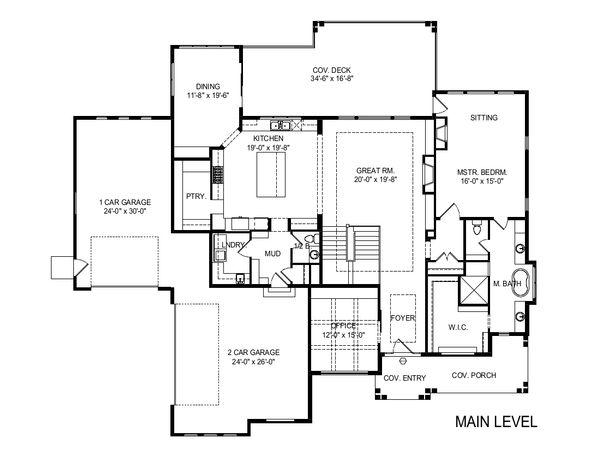 Craftsman Floor Plan - Main Floor Plan #920-109