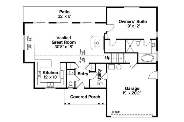 Architectural House Design - Traditional Floor Plan - Main Floor Plan #124-1041