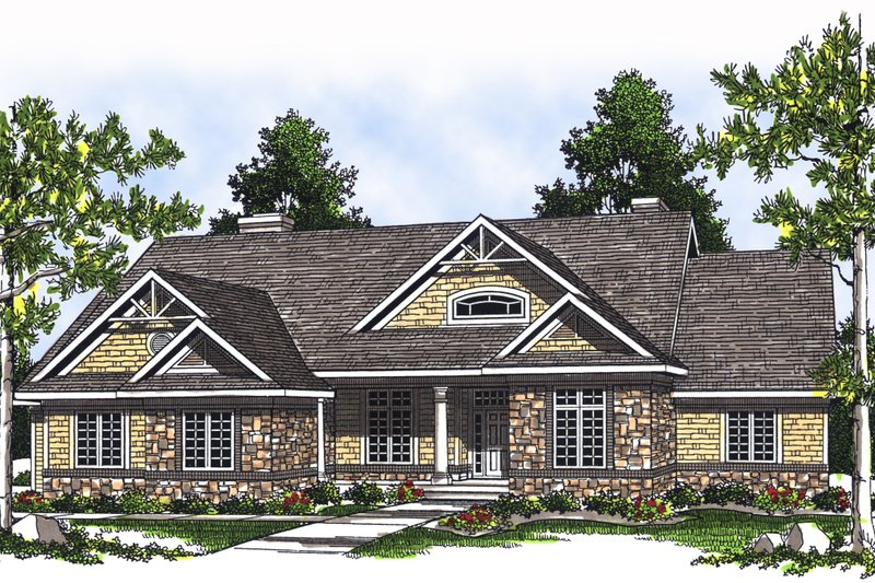 Country Exterior - Front Elevation Plan #70-377 - Houseplans.com