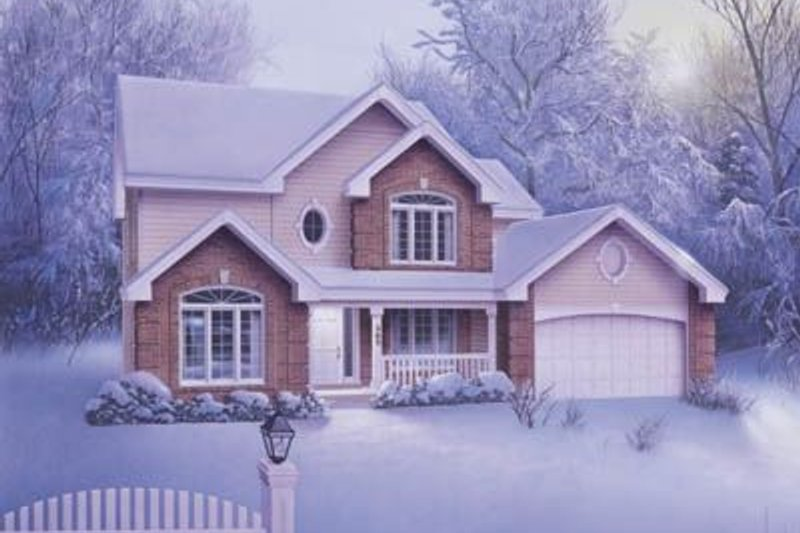 European Style House Plan - 4 Beds 2.5 Baths 2336 Sq/Ft Plan #57-126 Exterior - Front Elevation
