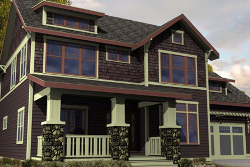 Craftsman Style House Plan - 3 Beds 2.5 Baths 2996 Sq/Ft Plan #461-12 Exterior - Front Elevation