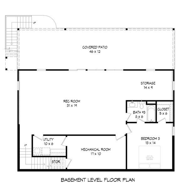 Cabin Floor Plan - Lower Floor Plan Plan #932-57