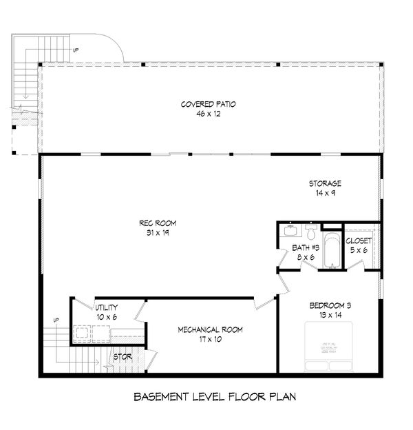 Dream House Plan - Cabin Floor Plan - Lower Floor Plan #932-57
