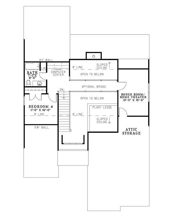 European Floor Plan - Upper Floor Plan Plan #17-2267