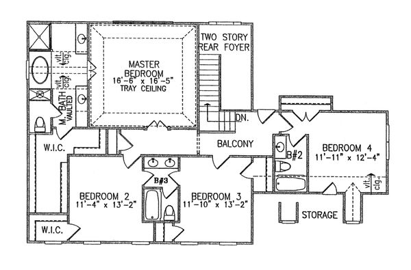 Traditional Floor Plan - Upper Floor Plan Plan #54-402