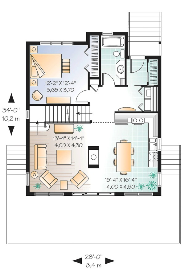 Contemporary Floor Plan - Main Floor Plan Plan #23-2629
