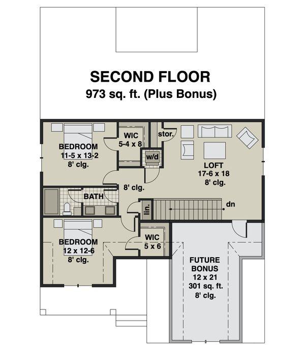 Farmhouse Floor Plan - Upper Floor Plan #51-1172