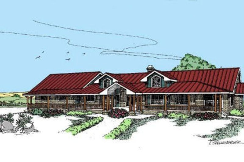 Ranch Exterior - Front Elevation Plan #60-296 - Houseplans.com