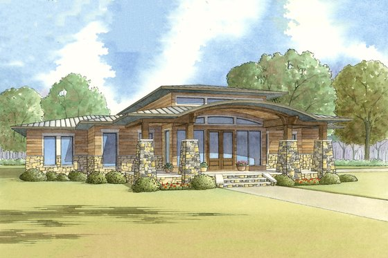 Modern Exterior - Front Elevation Plan #17-2591