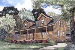 Log Exterior - Front Elevation Plan #17-470