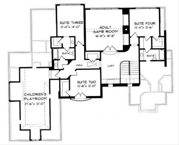 European Floor Plan - Upper Floor Plan Plan #413-121