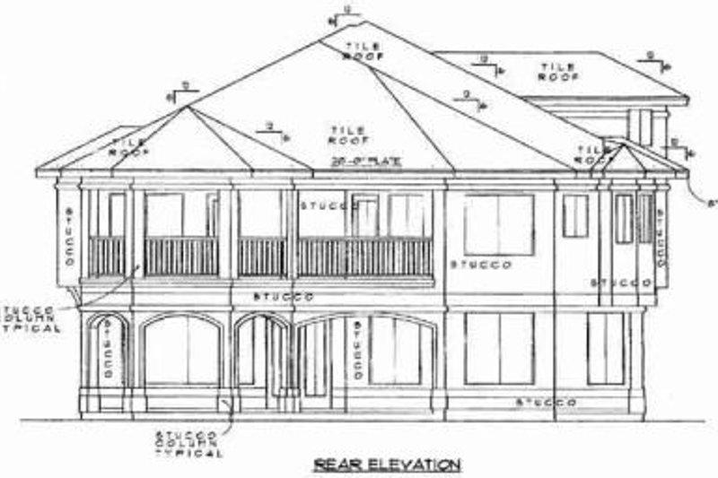 Mediterranean Exterior - Rear Elevation Plan #61-128 - Houseplans.com