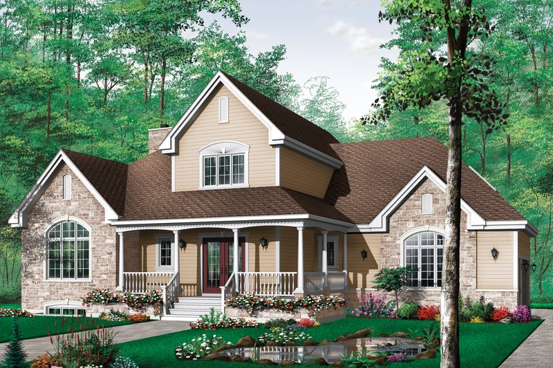 House Plan Design - Canadian house traditional style  craftsman home elevation