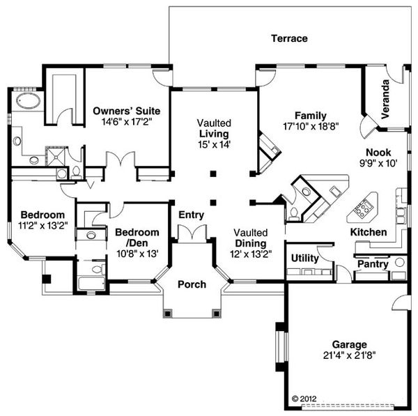 Mediterranean Floor Plan - Main Floor Plan Plan #124-429