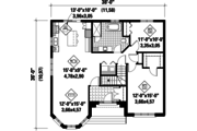 European Style House Plan - 2 Beds 1 Baths 1210 Sq/Ft Plan #25-4466 Floor Plan - Main Floor Plan