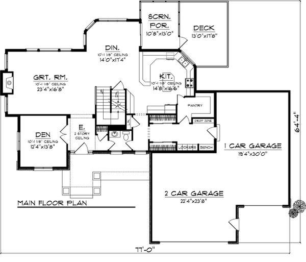 Craftsman Floor Plan - Main Floor Plan Plan #70-1062