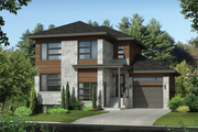 Contemporary Style House Plan - 4 Beds 2 Baths 2481 Sq/Ft Plan #25-4401 Exterior - Front Elevation