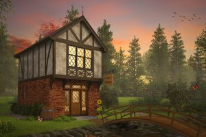Tudor Exterior - Front Elevation Plan #48-999