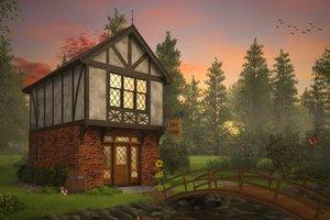 Tudor Exterior - Front Elevation Plan #48-999