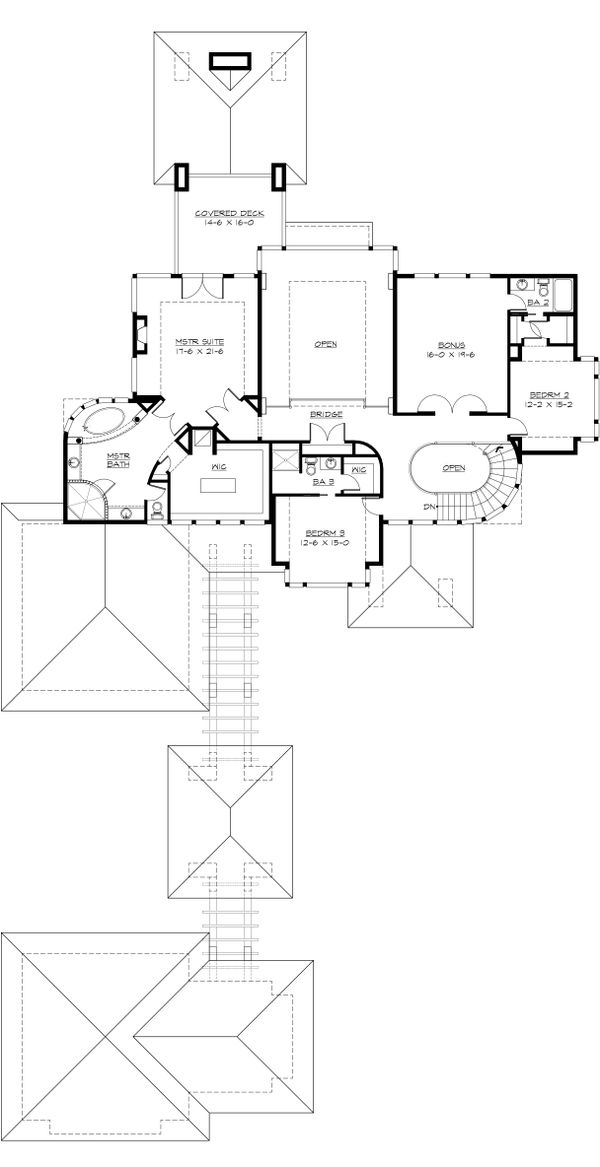 Modern Floor Plan - Upper Floor Plan Plan #132-221