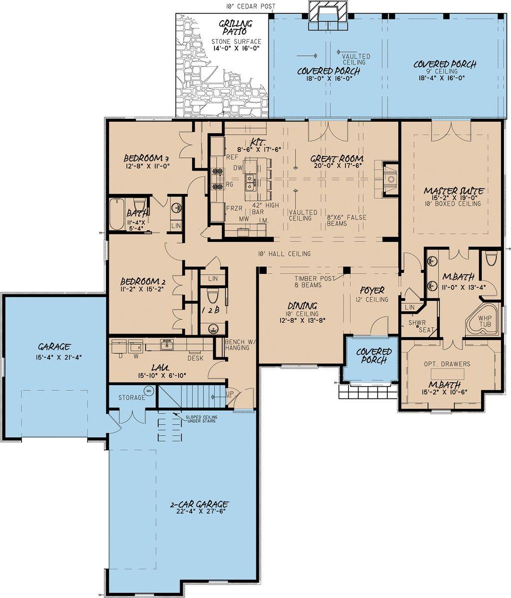 European Style House Plan 3 Beds 2 5 Baths 2428 Sq Ft