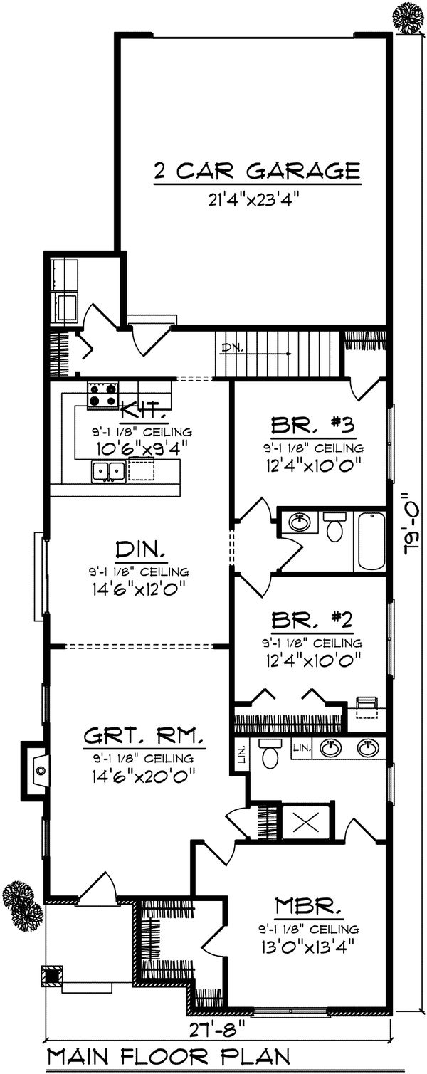 Ranch Floor Plan - Main Floor Plan Plan #70-1022