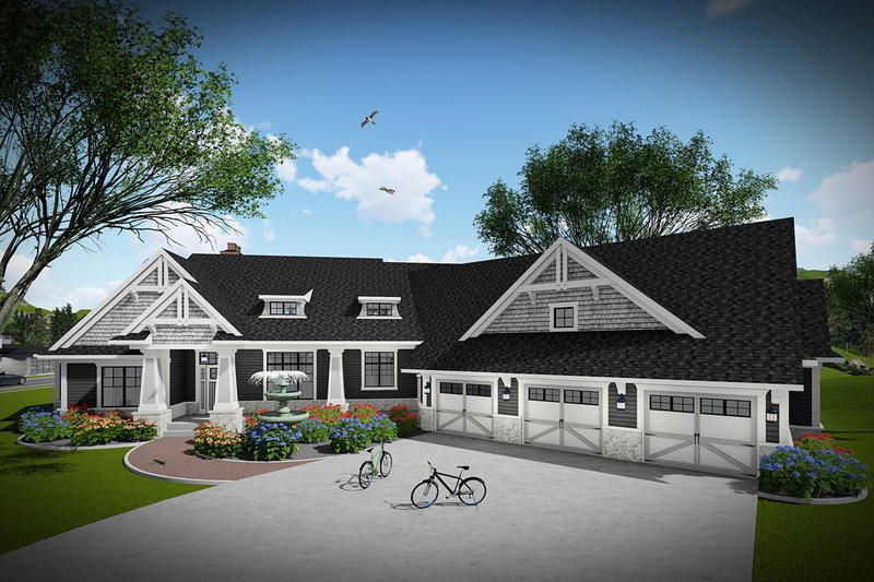 Ranch Style House Plan - 3 Beds 2 Baths 2913 Sq/Ft Plan #70-1468 Exterior - Front Elevation