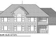 European Style House Plan - 4 Beds 3.5 Baths 3909 Sq/Ft Plan #70-677 Exterior - Rear Elevation