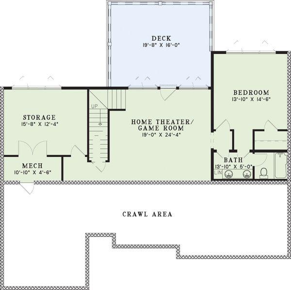 Farmhouse Floor Plan - Lower Floor Plan Plan #17-2311