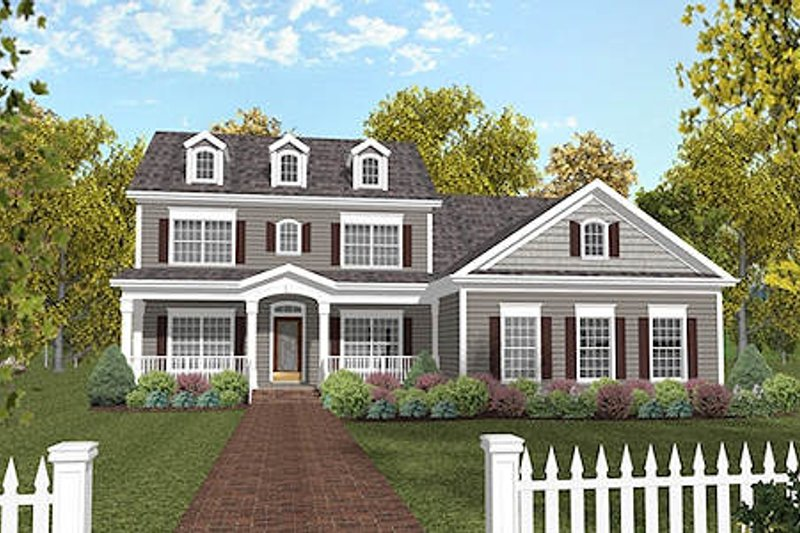 Country Style House Plan - 4 Beds 3 Baths 2234 Sq/Ft Plan #56-565 Exterior - Front Elevation