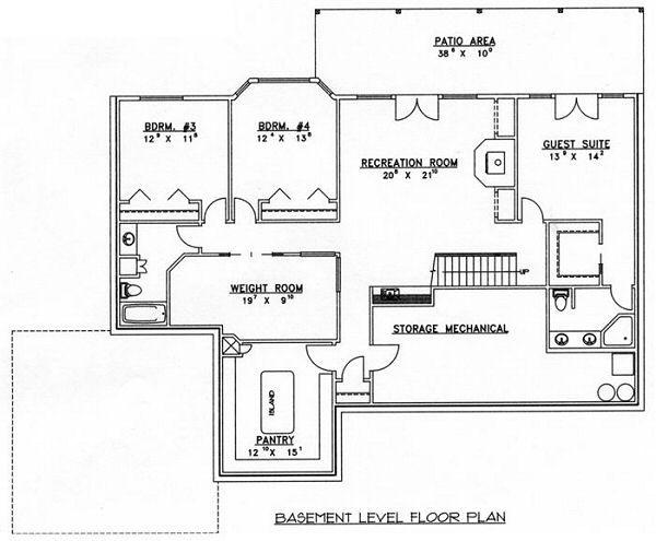 Modern Floor Plan - Lower Floor Plan Plan #117-531