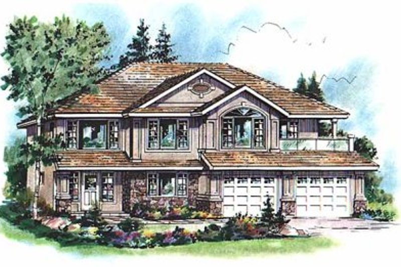 House Blueprint - European Exterior - Front Elevation Plan #18-265